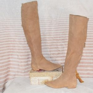 CHINESE LAUNDRY Tan Suede Thigh High Zippered Boot